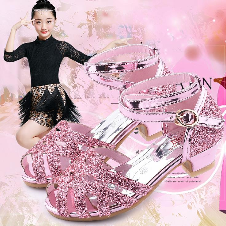 Children Girl Ballet Bling Shoes Dance  Shoes High-heeled Party Princess  Shoes 26-37 Pink Sliver Gold GZX01