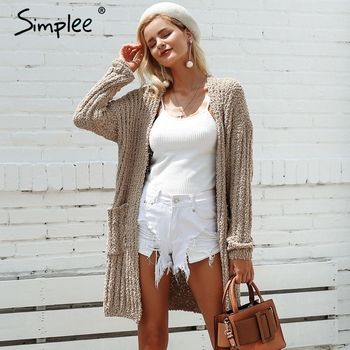 Simplee Khaki side pocket knitted long cardigan