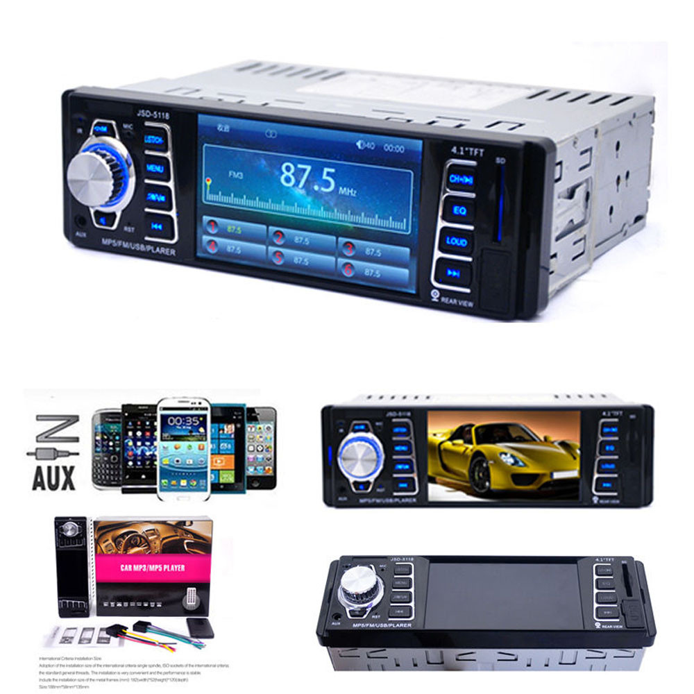 Universal 4.1Inch Car Radio Stereo Player Bluetooth Phone USB/TF MP3 FM/USB/1 Din/remote Control 12V Car Audio Auto 2016 New steering wheel control car radio mp5 player fm usb tf 1 din remote control 12v stereo 7 inch car radio aux touch screen