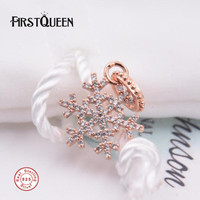 FirstQueen High Quality 14k Rose Gold Colour Christmas Snowflake Charm Beads Fit Bracelet Argent 925 New