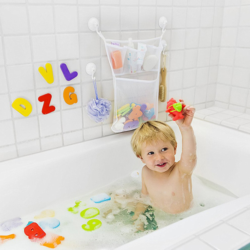 Image 2 - Kids Baby Bath Toys Tidy Storage Suction Cup Bag Baby Bathroom Toys Mesh Bag Organiser Net-in Bath Toy from Toys & Hobbies