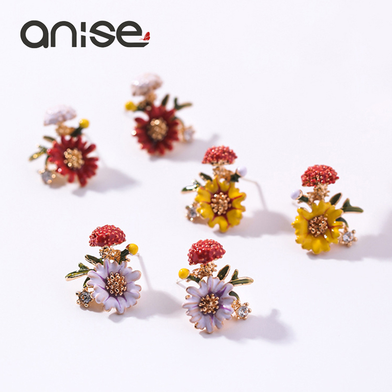 Anise Charms Colorful Flower Enamel Stud Earring Woman Vintage Mushroom Plant Glaze Earings For Girl Bohemia Jewelry Oorbellen