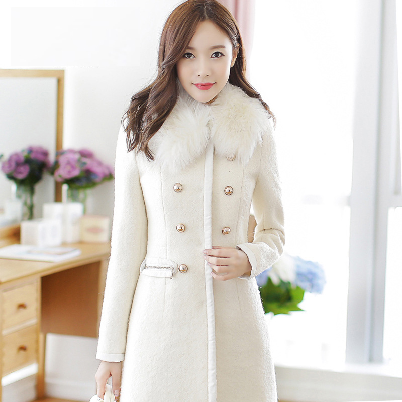 Fur Collar Winter Coat Women Casaco Feminino Abrigos Mujer A-Line Classic Double Breasted White Coat Basic Jackets Overcoat