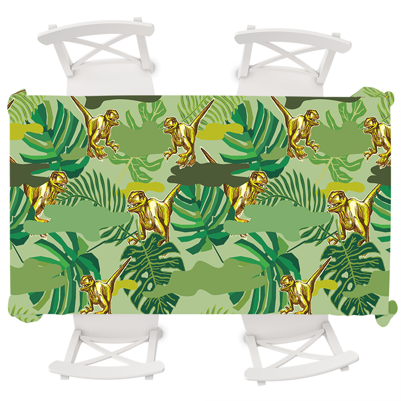 Anime Dinosaur Waterproof Tablecloth Round Tropical Plants Rectangular Table Cloth Wedding Party Oilproof Cover