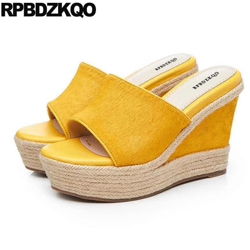 951bc5b97dd Pumps Slippers Luxury Designer Summer Slip On Espadrilles Wedge Sandals  High Heels Platform Yellow 2018 Rope