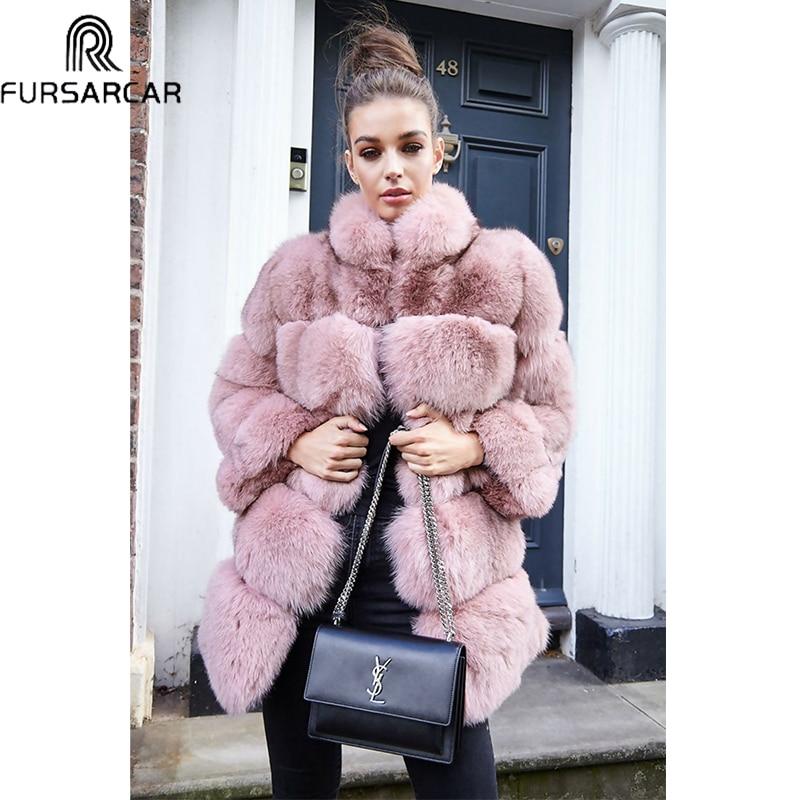 FURSARCAR Plus La Taille de 2018 Femmes D'hiver Vers Le Bas De Fourrure Luxueux Réel Fourrure De Renard Veste Épais Naturel Renard Manteau De Fourrure Avec col de fourrure