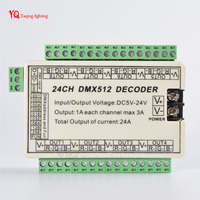 Wholesale 24CH 24 Channel Easy DMX Dmx512 Decoder With Case Controller Driver DC5V 24V 8 Groups