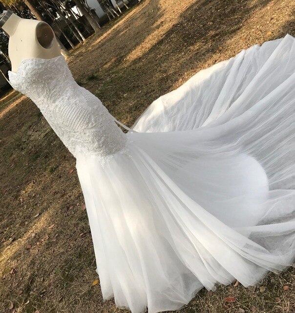 לבן בת ים תחרה עד אפליקציות חתונת שמלה ארוך רכבת ואגלי כלה שמלת robe דה mariee חתונת שמלת vestido דה noiva YY105