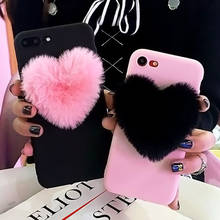 Lovely 3D Furry Love Hearts Cute hair Phone Case For iphone X XS XR XS MAX 6 6S 7 7Plus 8 8Plus 5S Fashion Soft TPU Back Cover(China)