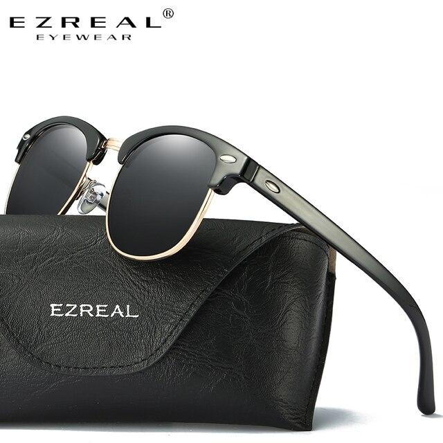 EZREAL Marque Classique Noir lunettes de Soleil Polarisées Hommes Femmes  Conduite Lunettes de Soleil Pour Homme 7c729b8a21ee