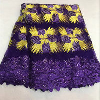 Lace fabric african high end tulle net lace fabric beads and stones special design and purple colorlace fabric for wedding dress
