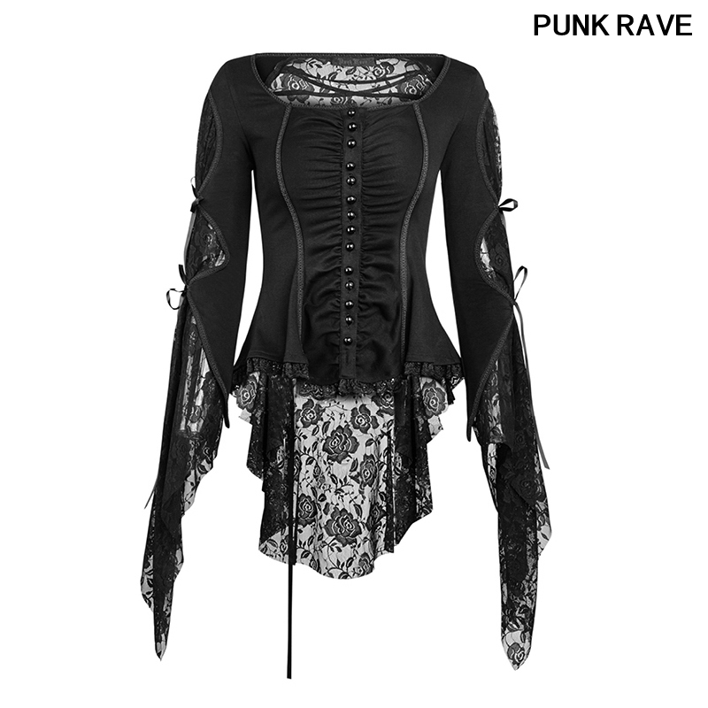 Gothic Flare Sleeve Cuffs Tie Rope Party Blouse Popular Roses Floral Pattern Striped Lace Sleeves Skinny Shirts PUNK RAVE Y-683