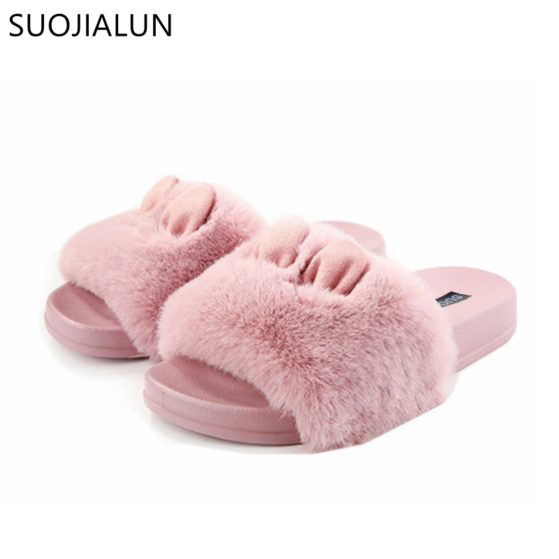 SUOJIALUN Women Shoes Women Slippers Platform Plush Home Slipper Cute Rabbit Slip On Fur Slides Lady Casual Flat Heel ShoesSUOJIALUN Women Shoes Women Slippers Platform Plush Home Slipper Cute Rabbit Slip On Fur Slides Lady Casual Flat Heel Shoes
