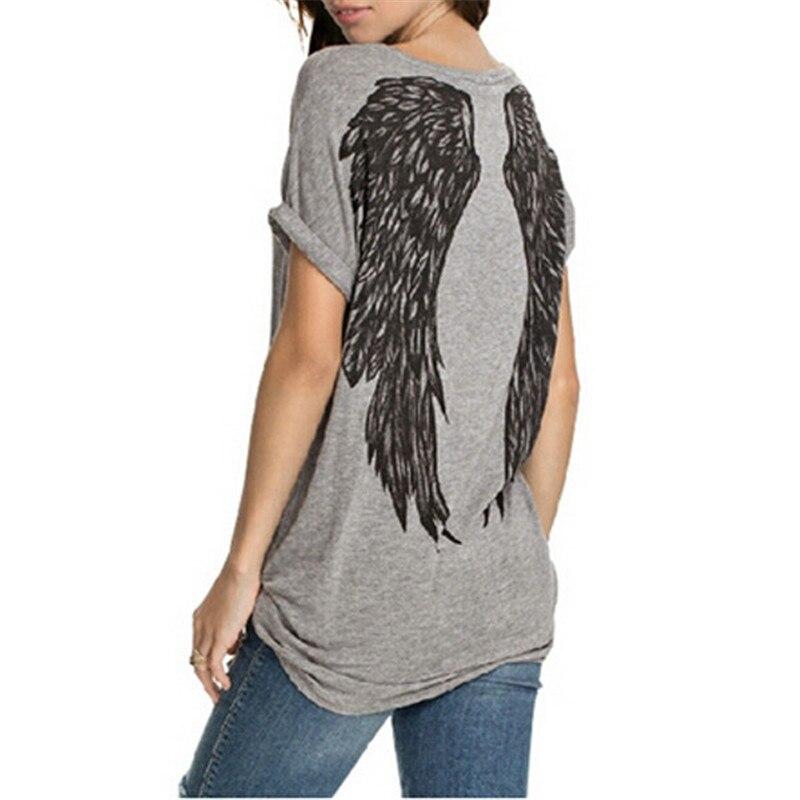 Angel Wings Printed Shirts 2018 Summer Womens T Shirts Tees O Neck Short  Sleeve Basic Tops