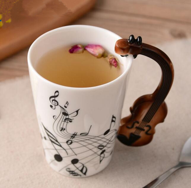 Kreative Musik Violine Stil Gitarre Keramik Becher Kaffee Tee Milch Stab Tassen mit Griff Kaffeetasse Neuheit Geschenke