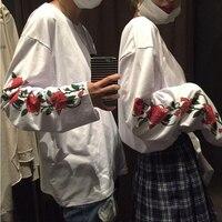 Korean Ulzzang Harajuku T Shirt Rose Floral Printed Long Sleeve T Shirt Women Men Fashion Loose