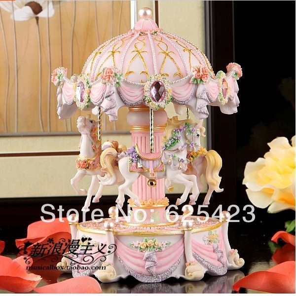 Hot Sale Creative Carousel Horse Music Box 1813cm Resin Musical Box Wooden Music Box Crafts