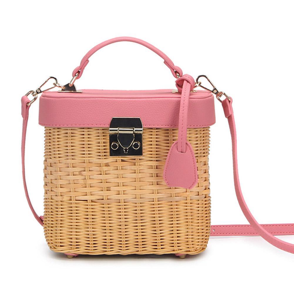 Womens Leather Strap Single-shoulder Crossbody Bag Handmade Fashion Natural Woven Round Rattan Handbags For LadiesWomens Leather Strap Single-shoulder Crossbody Bag Handmade Fashion Natural Woven Round Rattan Handbags For Ladies