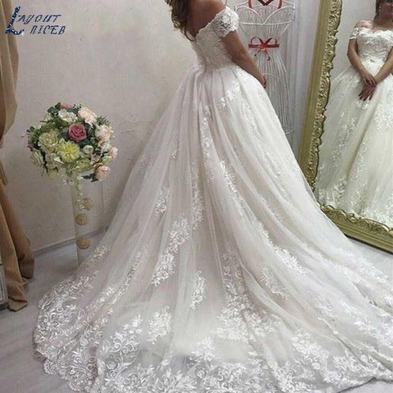 SHJ237 Robe De Mariee vestidos De novia De lujo fuera del hombro nueva moda vestidos De encaje vestidos para baile De boda vestidos por encargo