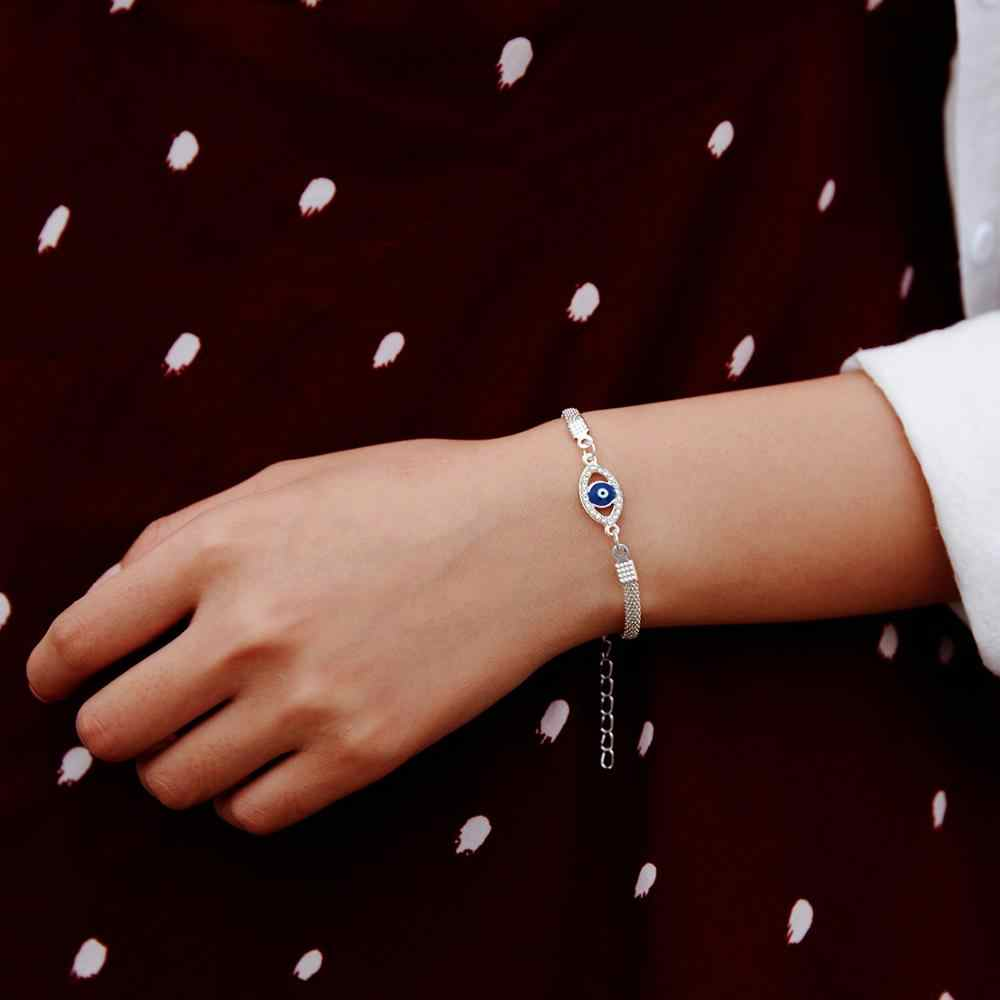 Trendy Silver Plated Blue Crystal Eyes Lucky Bracelets Turkish Evil Eye Star Palm Coconut Tree Charm Chain Bracelet for Women