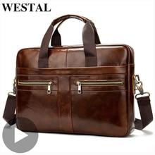 Westal Echtem Leder Business Messenger Frauen Männer Tasche Aktentasche Für Dokument Schulter Handtasche Männlichen Weibliche Laptop Kurze Fall A4