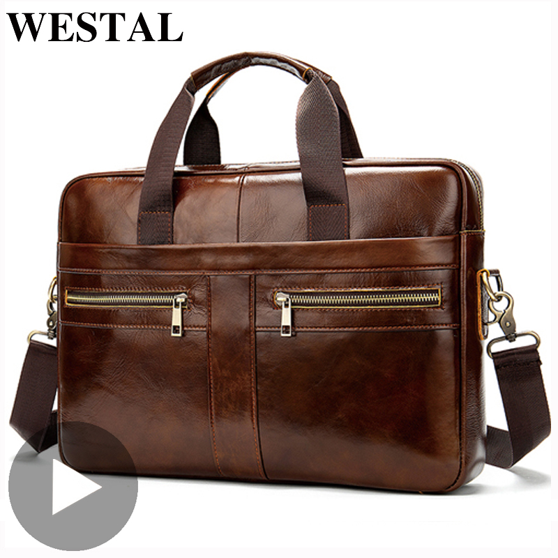 Westal Genuine Leather Business Messenger Women Men Bag Briefcase For Document Shoulder Handbag Male Female Laptop Brief Case A4