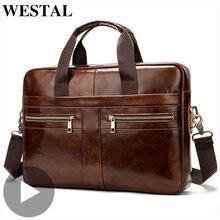 Westal en cuir véritable affaires messager femmes hommes sac porte documents pour Document épaule sac à main mâle femme ordinateur portable bref étui A4