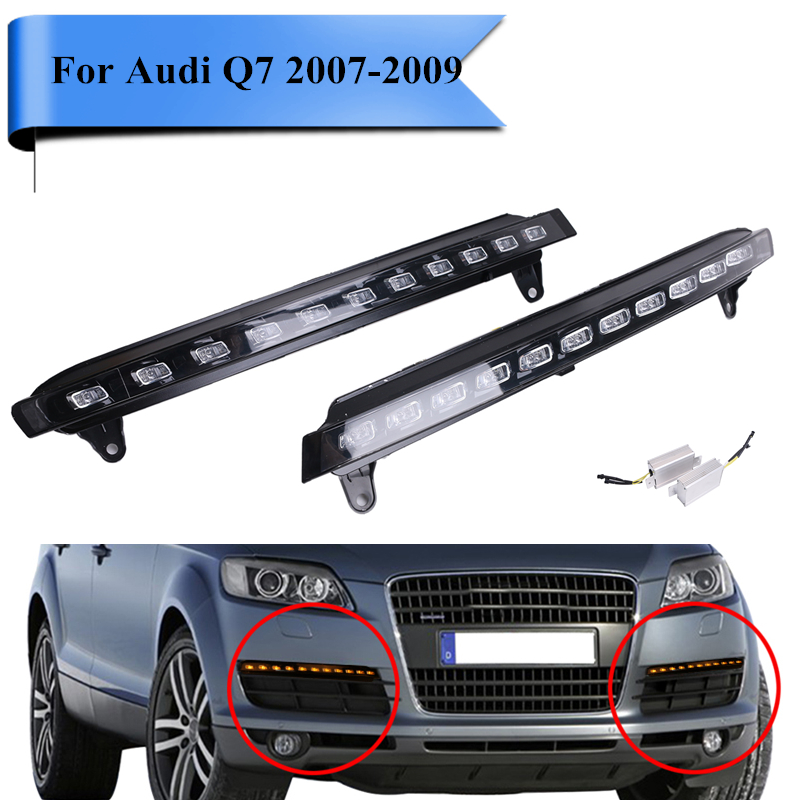 2x White LED Daytime Running Light For Audi Q7 2007 2008 2009 DRL Front Lower Fog Yellow Lamps with Controller Cable #PD560 for pontiac solstice 2007 2008 2009 daytime running lights excellent xenon white reflector 3157 led bulbs daytime drl light