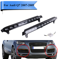 2x White LED Daytime Running Light For Audi Q7 2007 2008 2009 DRL Front Lower Fog Yellow Lamps with Controller Cable #PD560