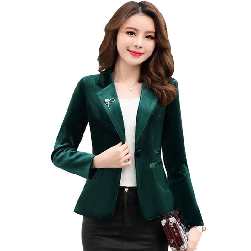 ed742b365bc 2019 Spring Women Velvet jacket OL Formal Slim Velvet Blazer Long Sleeve  Elegant Short Coat Red Green Blue Fashion Y1124-in Blazers from Women's  Clothing