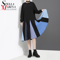 New 2017 Korean Style Women Summer Autumn Black Blue Dress Full Sleeve O Neck Cute Girls