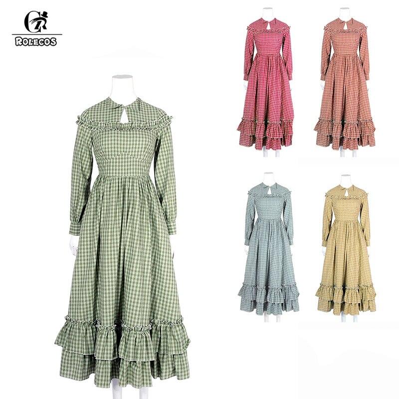 ROLECOS Plaid Lolita Dress Cotton Long Dress for Women Retro Victorian Renaissance Costume Party Sweet Girl