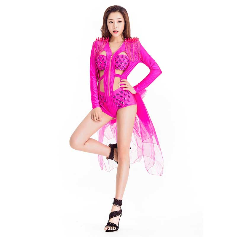 Fashion Band Jazz Dance Sequins Performance Clothing With Bow Swallowtail Coat Costumes For Women Modern Dance Costume Clothing