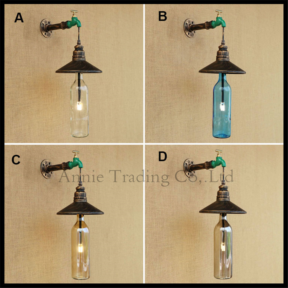 Vintage Water Pipe arm+Green Faucet+ Rustic Lampshade+ Glass Bottle +G4 LED Wall Lamps Industrial Wall Sconces Luminaire lustre adnart flavour it glass water bottle with fruit infuser