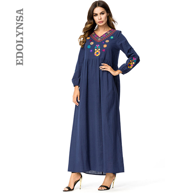 0de87ee2431a Blue Ukraine Robe Party Dress Plus Size Embroidery Long Sleeve Fit And Flare  Dress Cotton Winter Dresses Women 2019 Fashion D673
