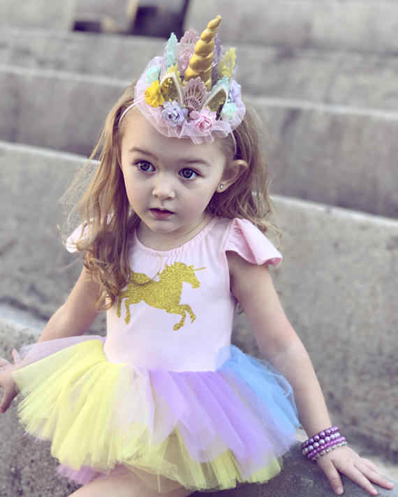882d41795f08 Newborn Baby Girls CLothes Lace Cartoon Unicorn Tutu Dress Infant Bebe Romper  Jumpsuit dresses 0-