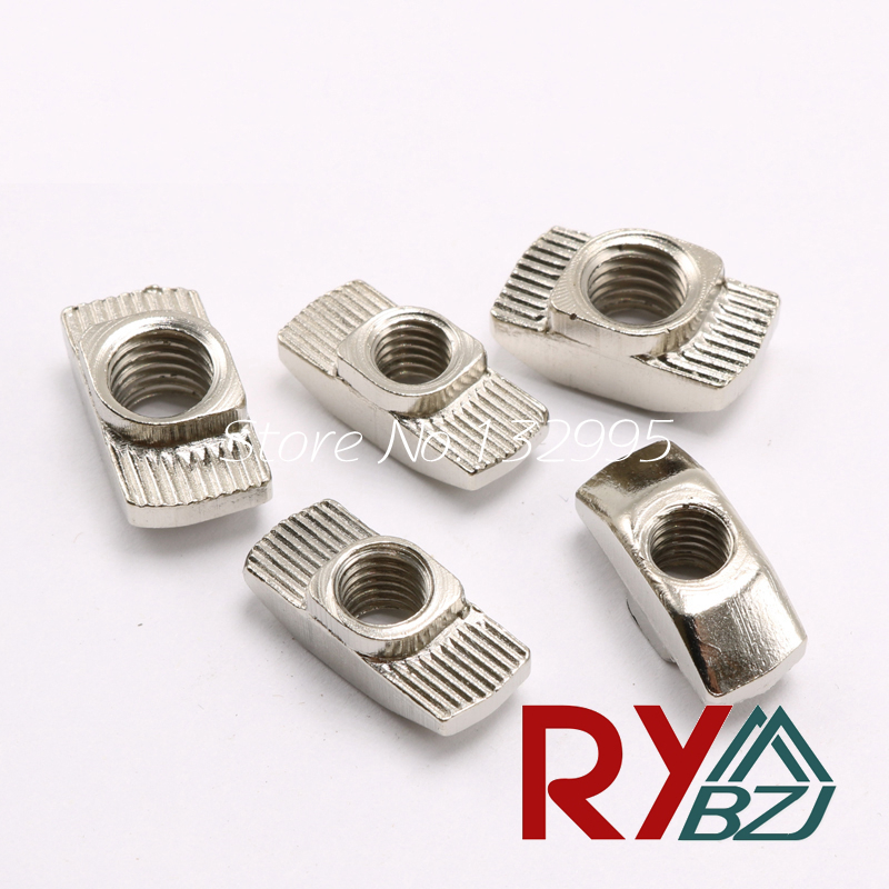20/30/40/45-M3/M4/M5/M6/M8 T Nut Hammer Nut Carbon Steel Nickel Plated T Fastener Sliding Nut Connector Aluminum Profile 10pcs m3 round aluminum alloy long nut studs standoffs fastener 8 10 15 20 25 30 35mm