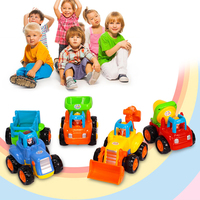 2017 New Colorful Trucks 4 Pcs Friction Powered Cars Mixer Push And Go Car Construction Vehicles