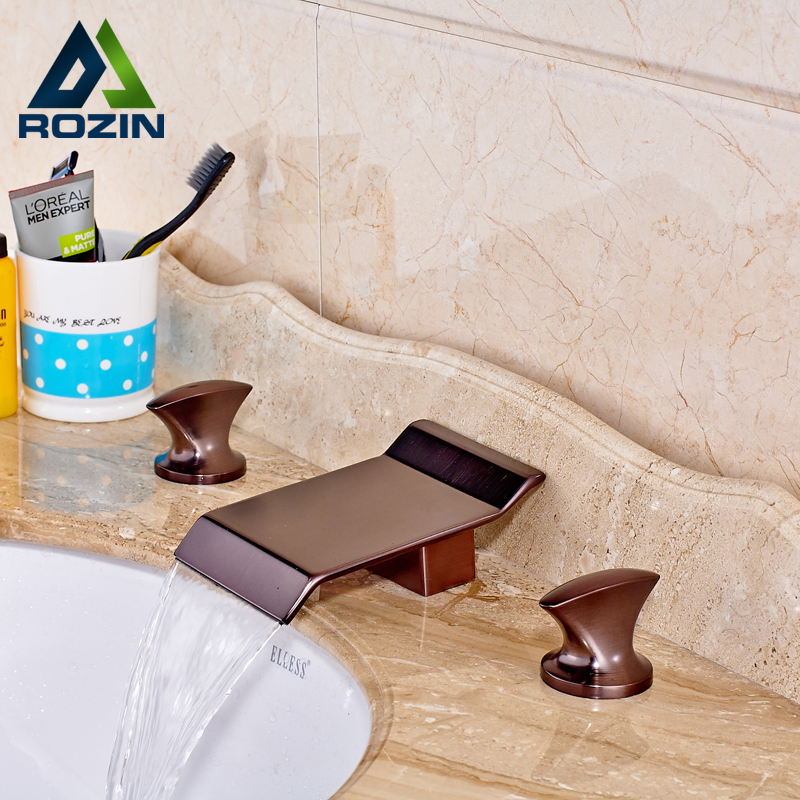 Oil Rubbed Bronze Widespread Dual Handle Three Holes Waterfall Basin Mixer Faucet Deck Mounted Mixer Water Taps allen roth brinkley handsome oil rubbed bronze metal toothbrush holder