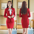 New Elegant Red Slim Fashion Formal Uniform Design Professional Office Suits With Tops And Skirt Business Women Blazers Outfits