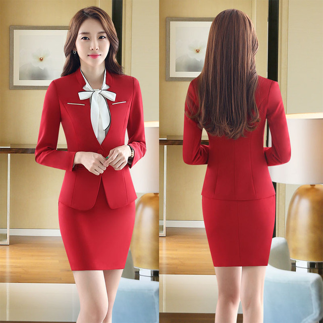 New Elegant Red Slim Fashion Formal Uniform Design Professional Office Suits  With Tops And Skirt Business 18881459d