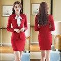 New Elegante Red Fino Forma Formal Ternos de Design Uniforme Escritório Profissional Com Tops E Saia Mulheres de Negócios Blazers Roupas
