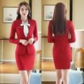 Nuevo Rojo Elegante Delgada de La Manera Formal Uniforme Trajes de Oficina de Diseño Profesional Con Tops Y Falda Trajes de Negocios Mujeres Blazers