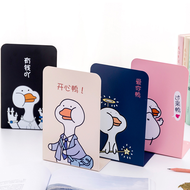 New 4pcs/set Cute Cartoon Fashion Style Bookshelf Large <font><b>Metal</b></font> Bookend Desk Holder <font><b>Stand</b></font> for <font><b>Books</b></font> Organizer gift image