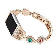 Mulheres do Estilo de India Pulseira Pulseira de Aço Inoxidável strap watch banda replacemen para Fitbit Alta/HR ou Fitbit Carga 2 rastreador