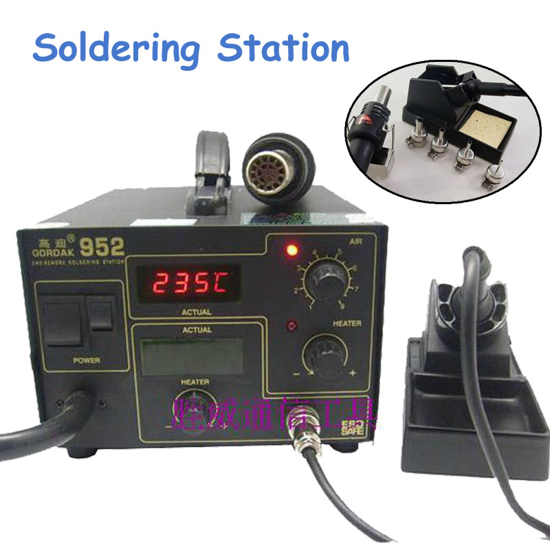 SMD Rework Soldering Station + Hot Air Heat Gun 2 in 1 270W SMD BGA Rework Station f 204 mobile phone laptop bga rework reballing station hot air gun clamp