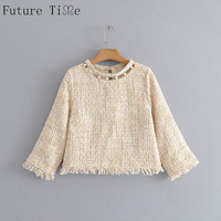 Future Time Women Pearl Shirts Winter Tweed Hollow Out Blouse Female Casual Long Sleeve Tassel Tops