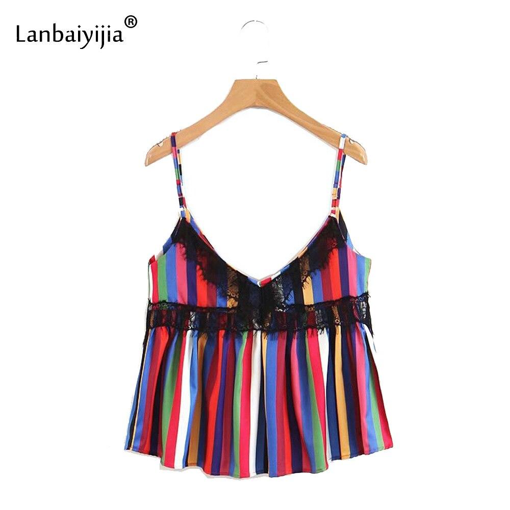 Lanbaiyijia date dentelle décorer hauts chemise à rayures dos nu été Camis profonde col en v chemise haut pour femme sangle t-shirts S M L