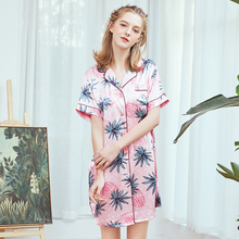 Wasteheart Spring Pink Sleeping Shirt Sleep Wear for Women Floral Printed V Neck Woven Female Sexy Tops Clothes Plus Size