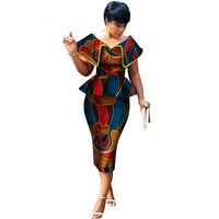African Clothing Top and Straight Skirt Sets African Wax Print 2 Pieces Skirt Sets for Women Bazin Riche African Style Clothing